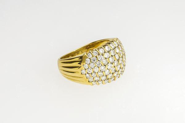 """Anello in oro giallo 18 kt. """"Damiani"""" con diamanti taglio brillante"""